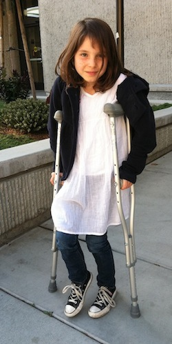 My daughter on crutches